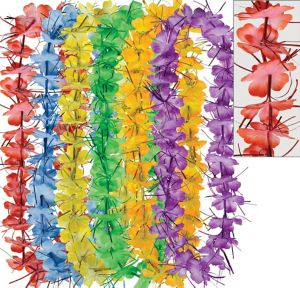 Colorful Tinsel Leis 6ct