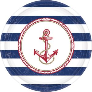 Striped Nautical Lunch Plates 8ct