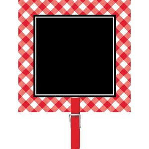 Picnic Party Red Gingham Chalkboard Clips 8ct