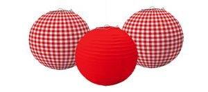 Picnic Party Red Gingham Paper Lanterns 3ct