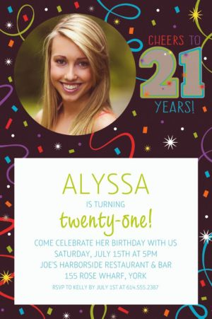 Custom Brilliant 21st Birthday Photo Invitation