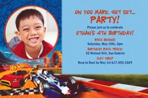 Custom Hot Wheels Wild Racer Photo Invitation