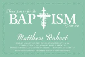 Custom Fancy Baptism Cross Teal Invitation