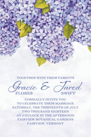 Custom Bundled Hydrangeas Invitation