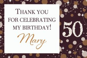 Custom Sparkling Celebration 50 Thank You Note