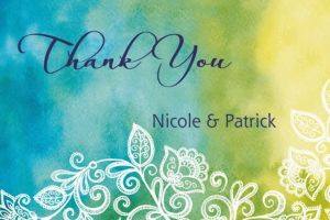Custom Ombre Floral Cool Thank You Note