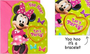 Premium Prismatic Minnie Mouse Invitations with Bracelets 8ct