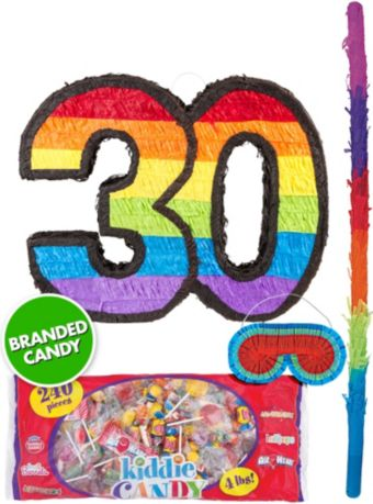 Rainbow Number 30 Pinata Kit