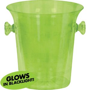 Black Light Neon Green Plastic Ice Bucket