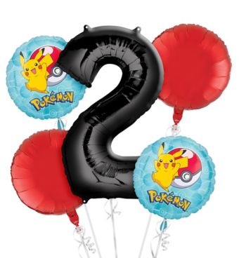 Pokemon 2nd Birthday Balloon Bouquet 5pc