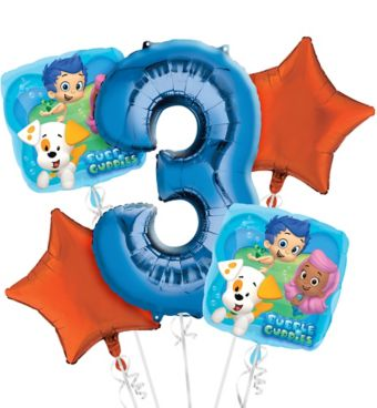 Bubble Guppies 3rd Birthday Balloon Bouquet 5pc