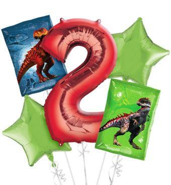 Prehistoric Dinosaurs 2nd Birthday Balloon Bouquet 5pc