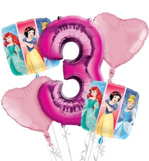 Disney Princess 3rd Birthday Balloon Bouquet 5pc