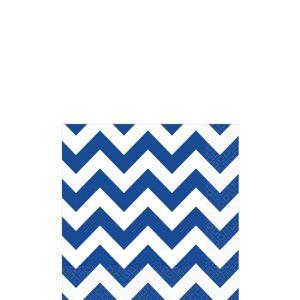 Royal Blue Chevron Beverage Napkins 16ct