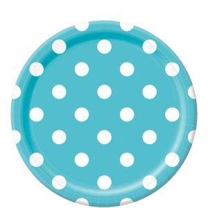 Caribbean Blue Polka Dot Lunch Plates 8ct