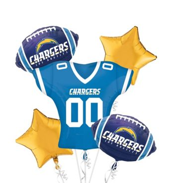 San Diego Chargers Jersey Balloon Bouquet 5pc