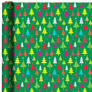 Metallic Green Christmas Tree Gift Wrap