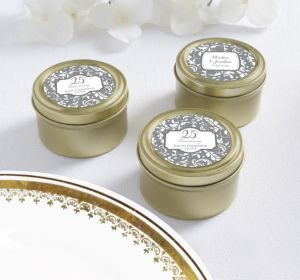 PERSONALIZED Wedding Round Candy Tins - Gold (Printed Label) (25th Anniversary)