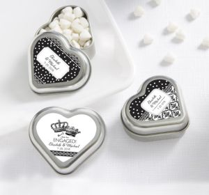 PERSONALIZED Wedding Heart-Shaped Mint Tins with Candy (Printed Label) (Damask & Dots)