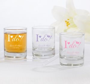 PERSONALIZED Wedding Shot Glasses (Printed Glass) (Pink, I Do)