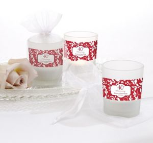 PERSONALIZED Wedding Glass Votive Candle Holders (Printed Label) (40th Anniversary)