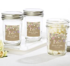 PERSONALIZED Wedding Mason Jars with Solid Lids (Printed Label) (I Do)