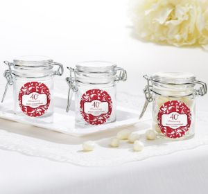 PERSONALIZED Wedding Small Glass Jars (Printed Label) (40th Anniversary)