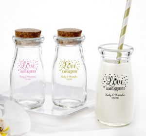 PERSONALIZED Wedding Glass Milk Bottles with Corks (Printed Glass) (Pink, Sparkling Pink Wedding)