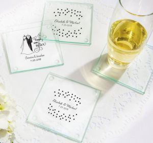 PERSONALIZED Wedding Glass Coasters, Set of 12 (Printed Glass) (White, Black & White Attire)