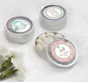 PERSONALIZED Wedding Round Candy Tins - Silver (Printed Label) (I Do)