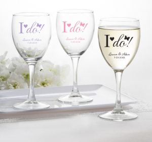 PERSONALIZED Wedding Wine Glasses (Printed Glass) (Lavender, I Do)