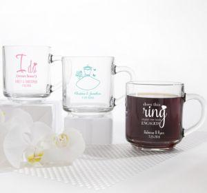 PERSONALIZED Wedding Glass Coffee Mugs (Printed Glass) (Black, I Do Woo Hoo)