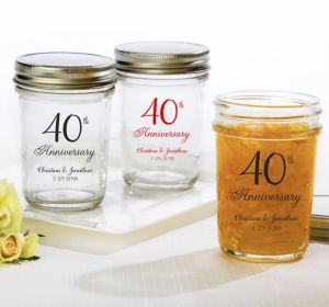 PERSONALIZED Wedding Mason Jars with Solid Lids (Printed Glass) (Red, 40th Anniversary)