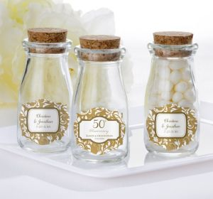 PERSONALIZED Wedding Glass Milk Bottles with Corks (Printed Label) (Gold Elegant Scroll)