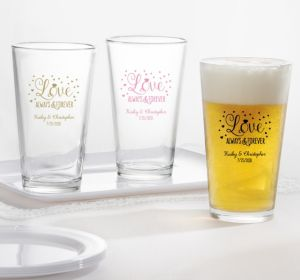 PERSONALIZED Wedding Pint Glasses (Printed Glass) (Pink, Sparkling Pink Wedding)