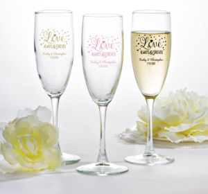 PERSONALIZED Wedding Champagne Flutes (Printed Glass) (Gold, Sparkling Pink Wedding)