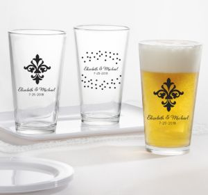 PERSONALIZED Wedding Pint Glasses (Printed Glass) (White, We're Engaged Crowns)