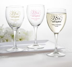 PERSONALIZED Wedding Wine Glasses (Printed Glass) (Gold, Sparkling Pink Wedding)