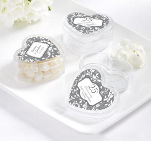 PERSONALIZED Wedding Heart-Shaped Plastic Favor Boxes (Printed Label) (25th Anniversary)