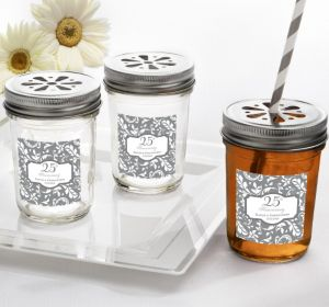 PERSONALIZED Wedding Mason Jars with Daisy Lids (Printed Label) (25th Anniversary)