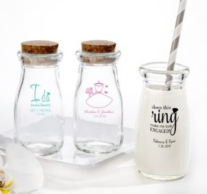 PERSONALIZED Wedding Glass Milk Bottles with Corks (Printed Glass) (Black, I Do Woo Hoo)