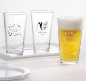 PERSONALIZED Wedding Pint Glasses (Printed Glass) (White, Black & White Attire)