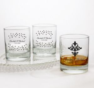 PERSONALIZED Wedding Rocks Glasses (Printed Glass) (Black, Damask & Dots)