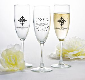 PERSONALIZED Wedding Champagne Flutes (Printed Glass) (White, Damask & Dots)