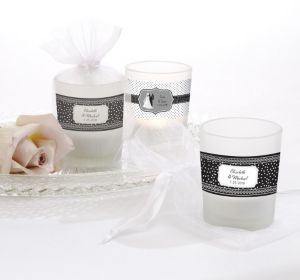 PERSONALIZED Wedding Glass Votive Candle Holders (Printed Label) (Black & White Wedding)