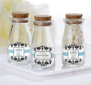 PERSONALIZED Wedding Glass Milk Bottles with Corks (Printed Label) (Always & Forever Happy Anniversary)