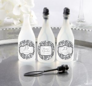 PERSONALIZED Wedding Bubbles (Printed Label) (Silver Elegant Scroll)