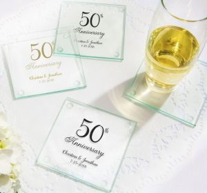 PERSONALIZED Wedding Glass Coasters, Set of 12 (Printed Glass) (50th Anniversary Elegant Scroll)