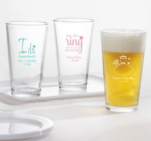 PERSONALIZED Wedding Pint Glasses (Printed Glass) (Pink, I Do Woo Hoo)