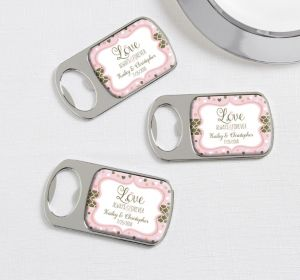 PERSONALIZED Wedding Bottle Openers - Silver (Printed Epoxy Label) (Sparkling Pink Wedding)